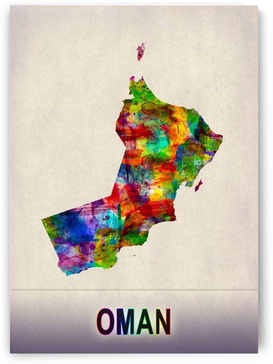 Oman Map in Watercolor by Towseef
