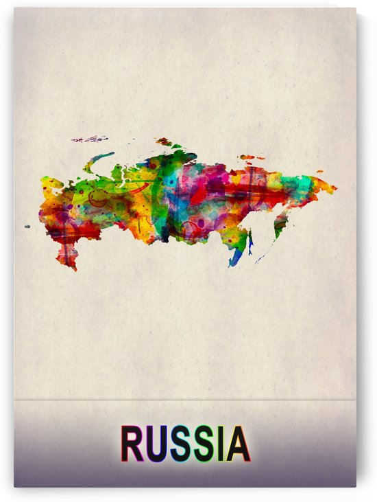 Russia Map in Watercolor by Towseef