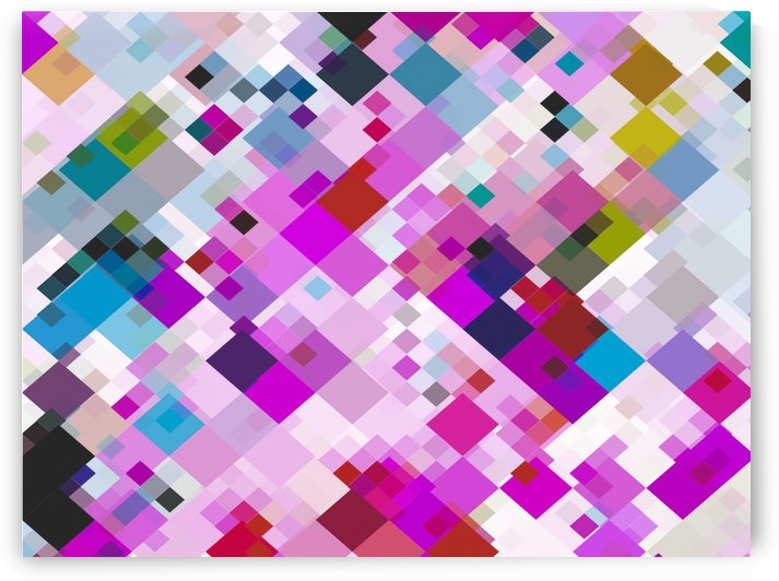 geometric square pixel pattern abstract background in pink blue yellow by TimmyLA