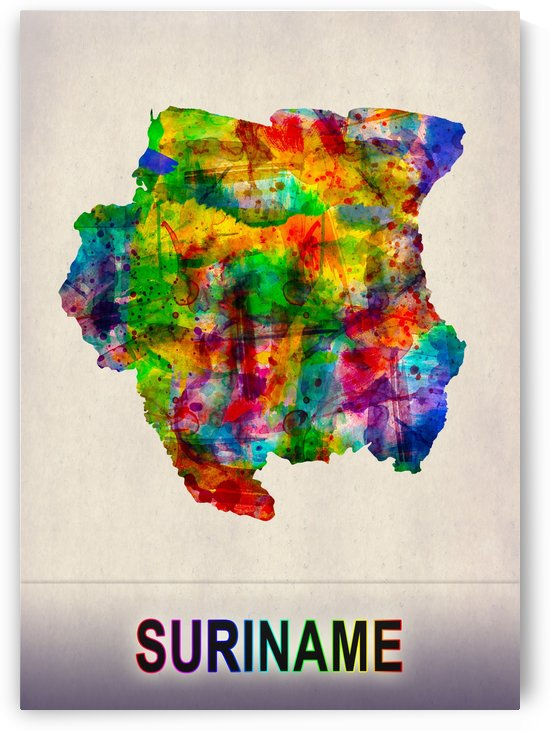 Suriname Map in Watercolor by Towseef