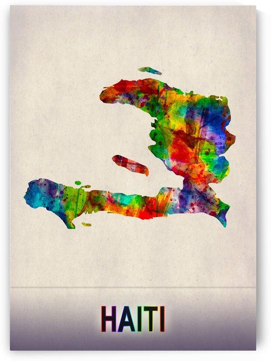 Haiti Map in Watercolor by Towseef Dar
