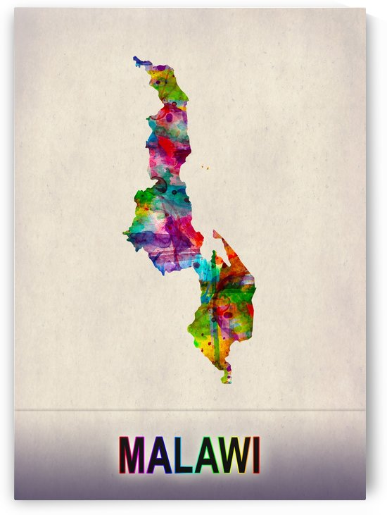 Malawi Map in Watercolor by Towseef