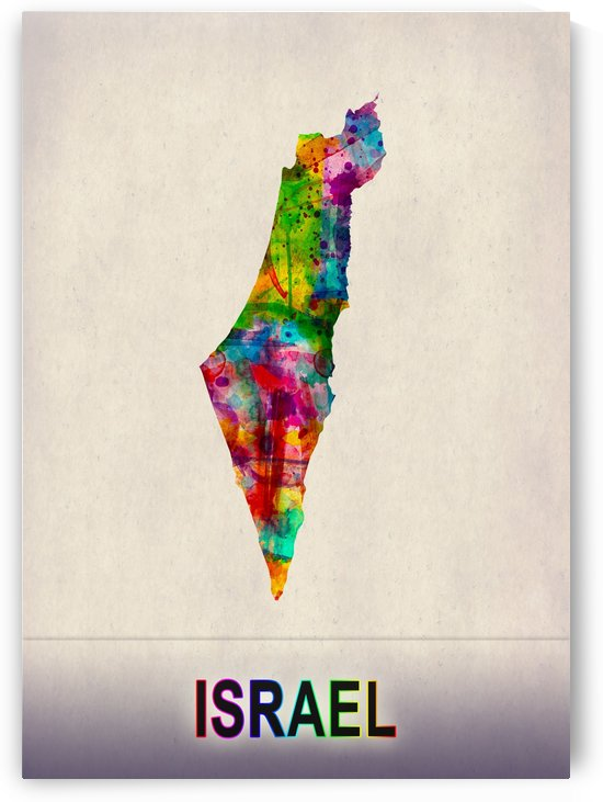 Israel Map in Watercolor by Towseef