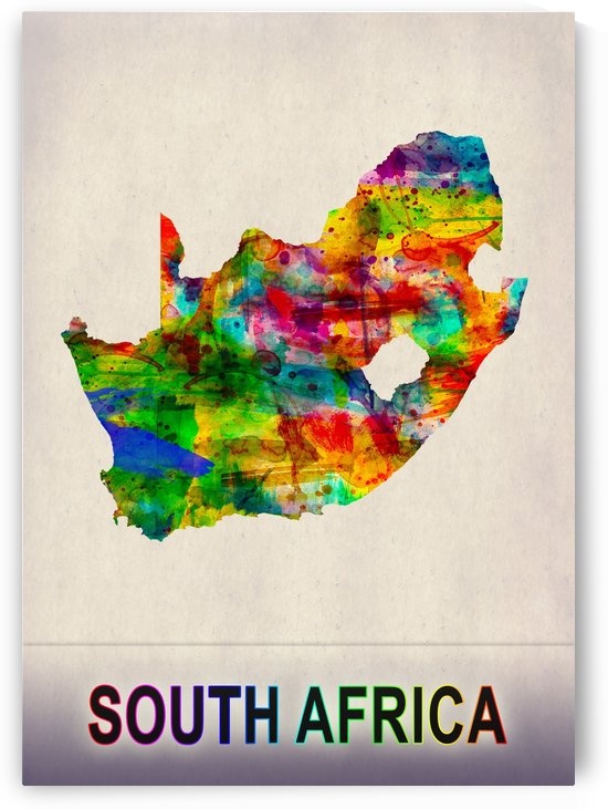 South Africa Map in Watercolor by Towseef Dar