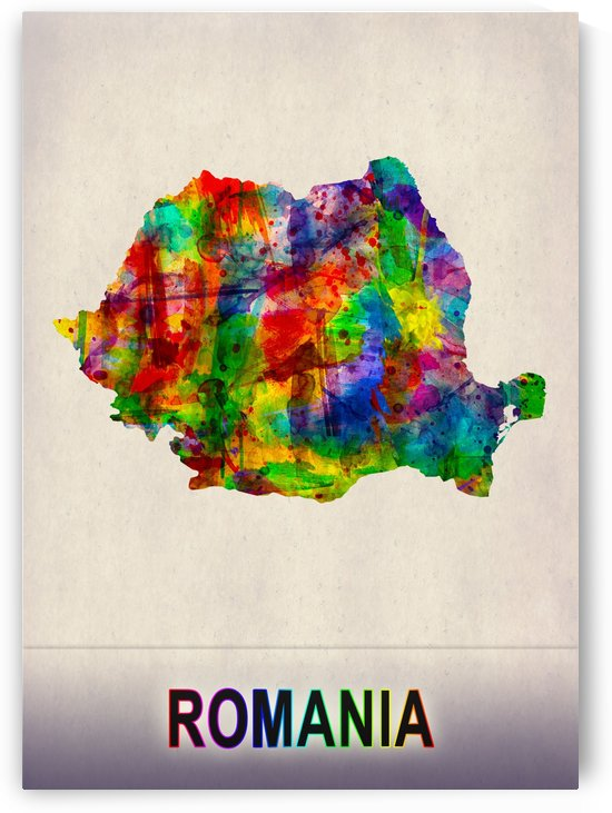 Romania Map in Watercolor by Towseef
