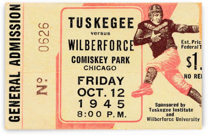 1945 Tuskegee Wilberforce Football Ticket Stub by Row One Brand
