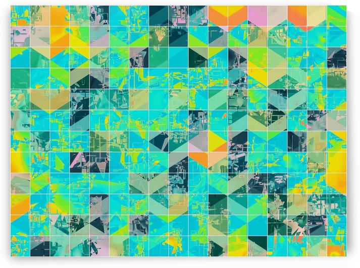 geometric square pixel pattern abstract background in green blue yellow by TimmyLA
