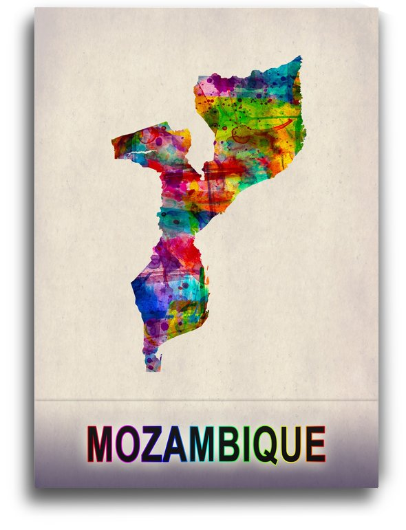 Mozambique Map in Watercolor by Towseef