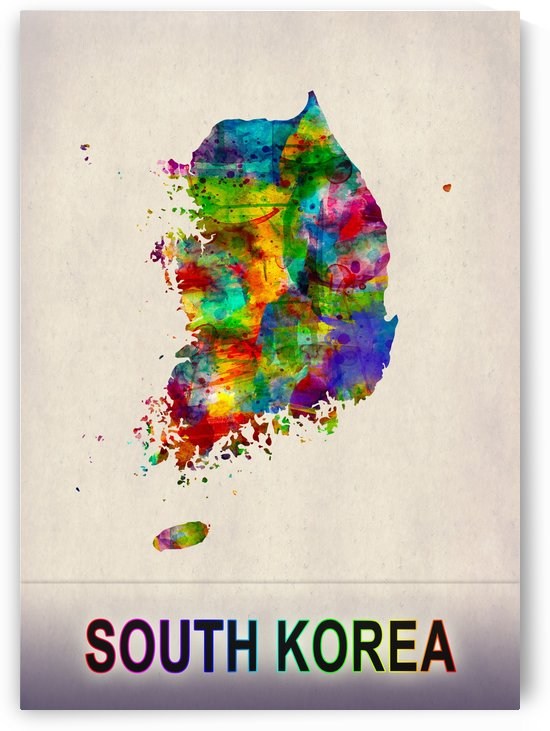 South Korea Map in Watercolor by Towseef Dar