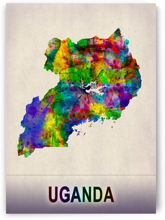 Uganda Map in Watercolor by Towseef Dar