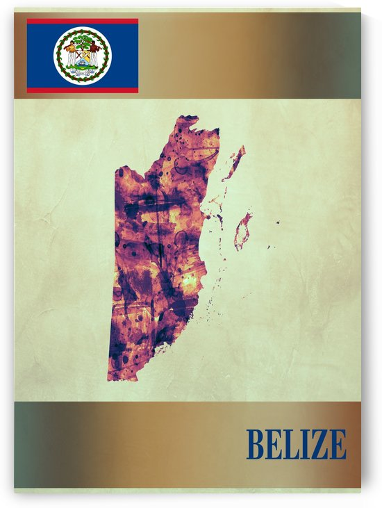 Belize Map with Flag by Towseef