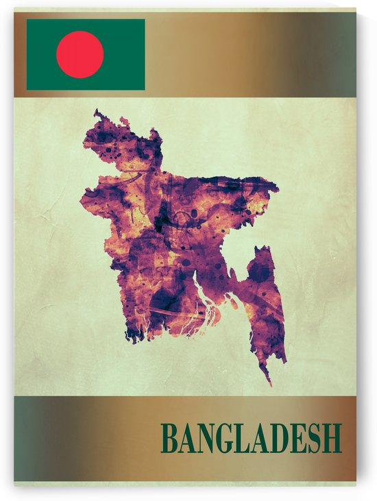 Bangladesh Map with Flag by Towseef
