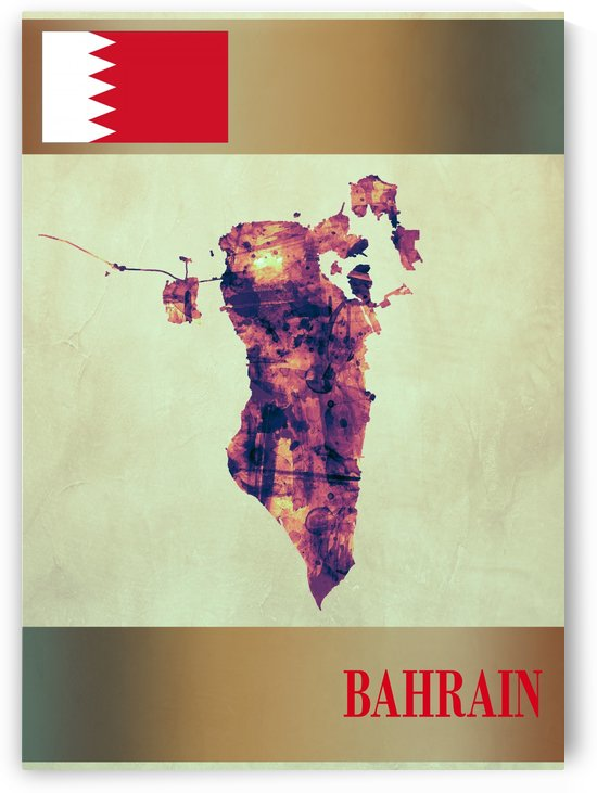 Bahrain Map with Flag by Towseef