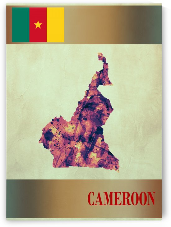 Cameroon Map with Flag by Towseef