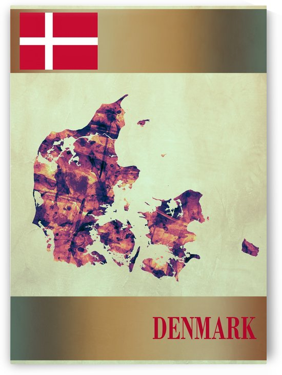 Denmark Map with Flag by Towseef