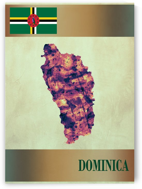 Dominica Map with Flag by Towseef