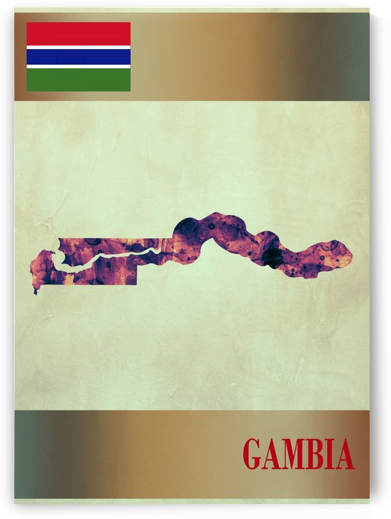 Gambia Map with Flag by Towseef