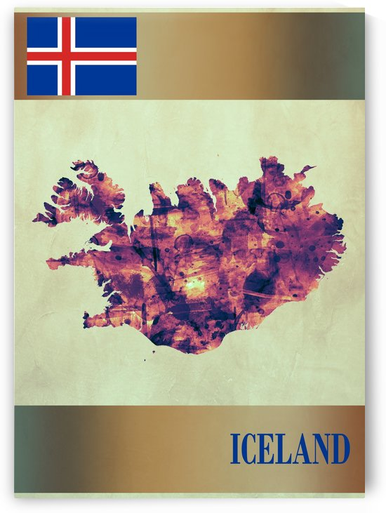 Iceland Map with Flag by Towseef