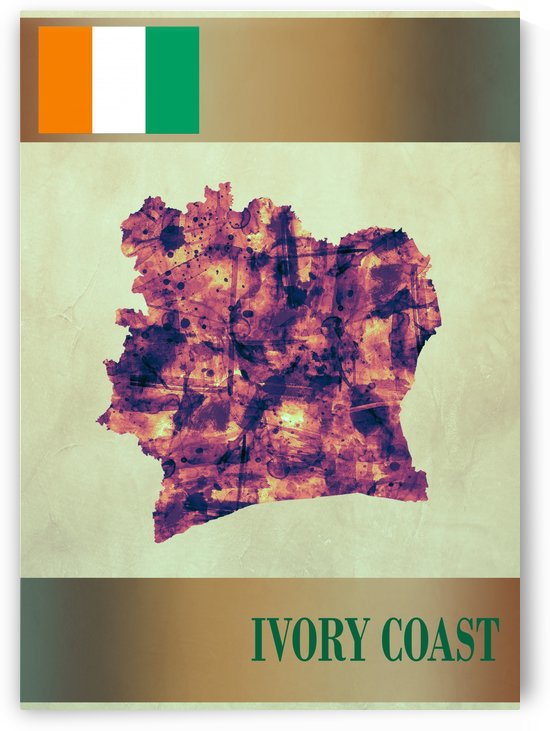 Ivory Coast Map with Flag by Towseef