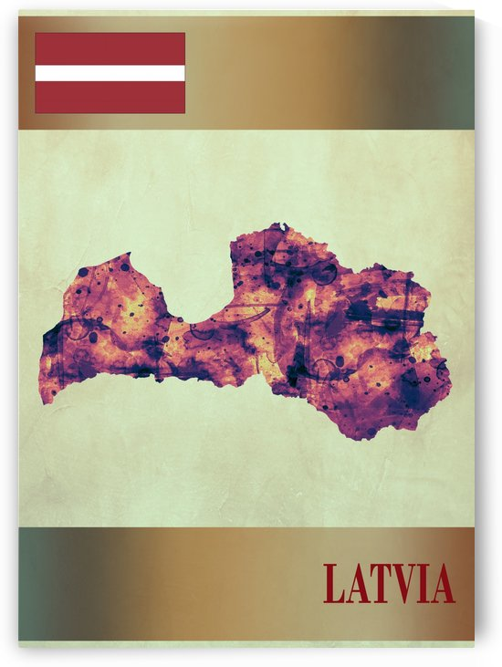 Latvia Map with Flag by Towseef