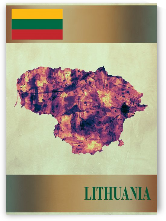 Lithuania Map with Flag by Towseef