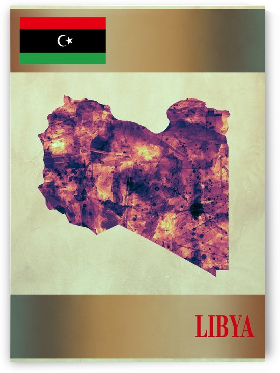Libya Map with Flag by Towseef