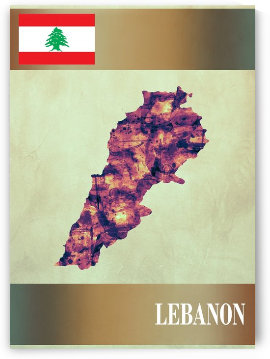 Lebanon Map with Flag by Towseef