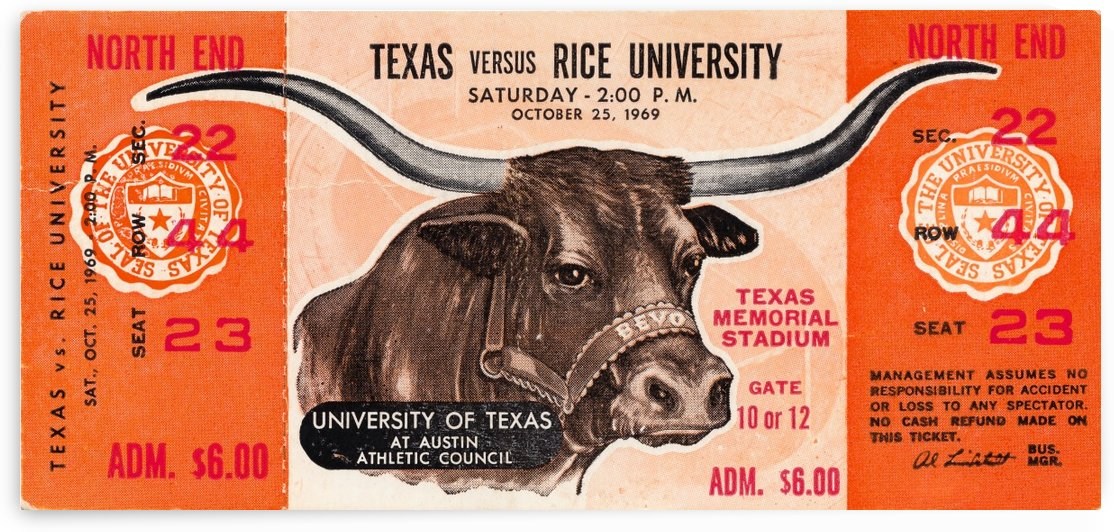 1969 texas longhorns football ticket art by Row One Brand
