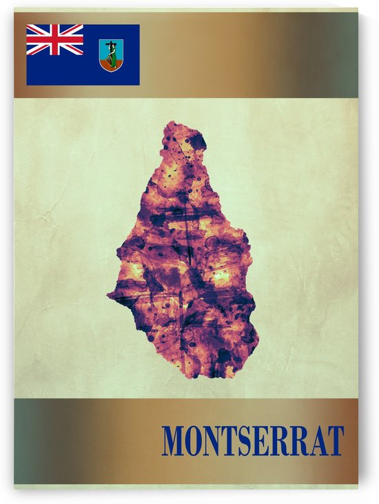 Montserrat Map with Flag by Towseef