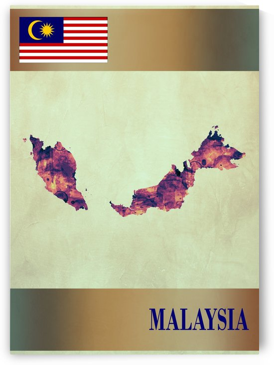 Malaysia Map with Flag by Towseef