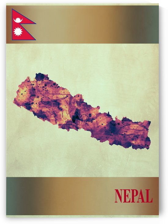 Nepal Map with Flag by Towseef