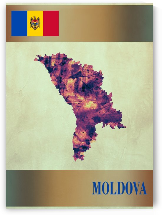 Moldova Map with Flag by Towseef