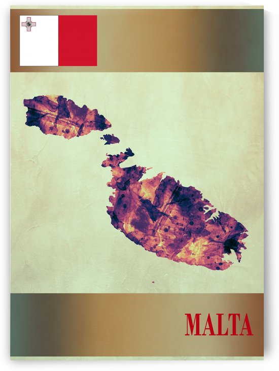 Malta Map with Flag by Towseef