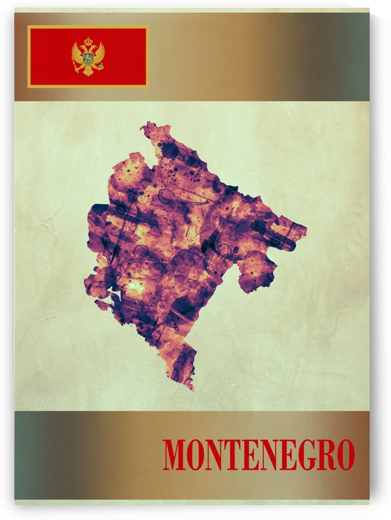 Montenegro Map with Flag by Towseef
