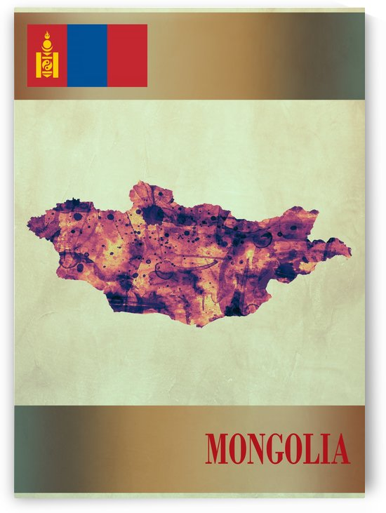 Mongolia Map with Flag by Towseef