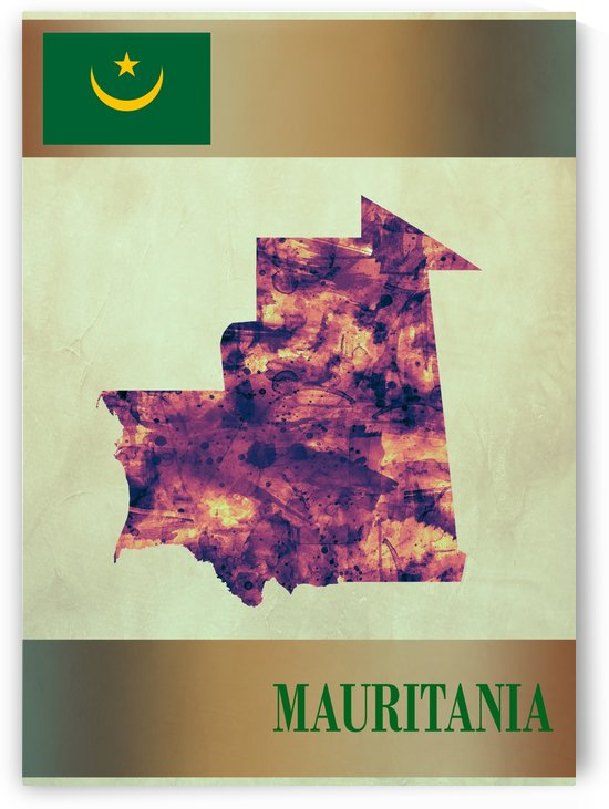 Mauritania Map with Flag by Towseef