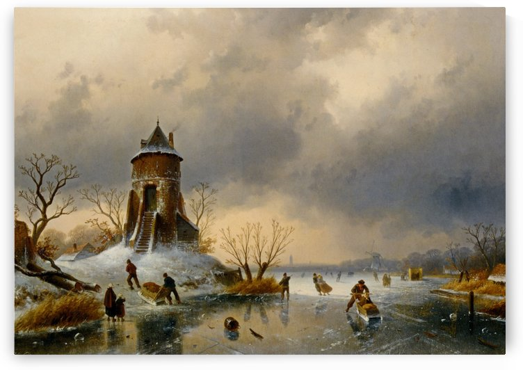 A Winter Landscape with Skaters on the Ice by Charles Henri Joseph Leickert