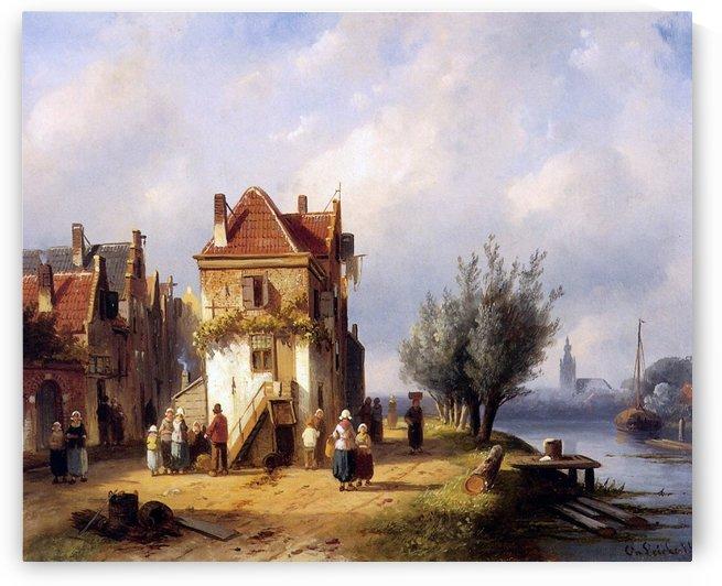 Leickert Charles Henri View on a village near to a river Sun by Charles Henri Joseph Leickert