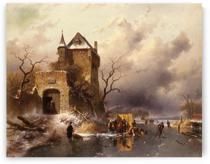 Skaters on a frozen lake by the ruins of a castle by Charles Henri Joseph Leickert