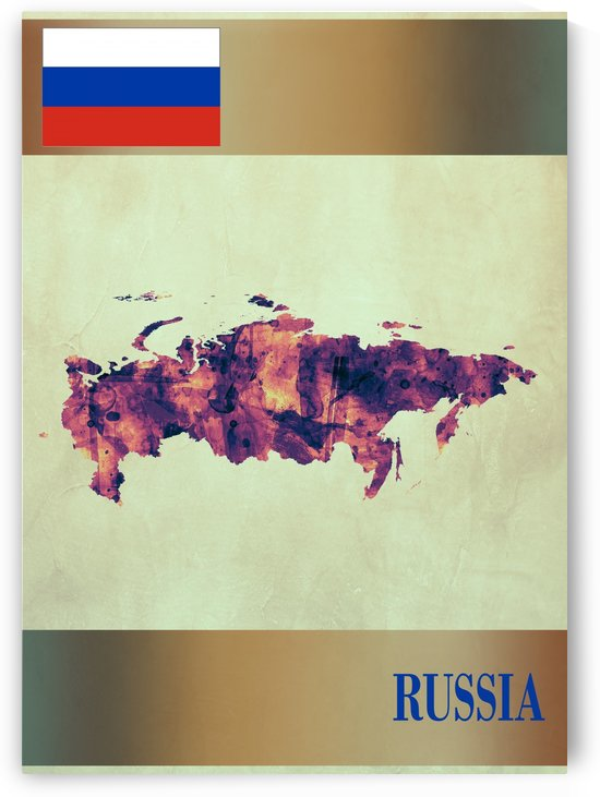 Russia Map with Flag by Towseef