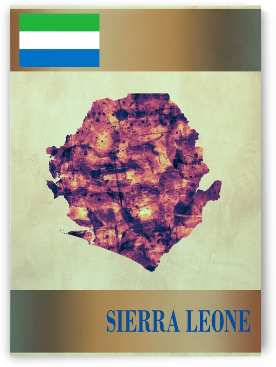Sierra Leone Map with Flag by Towseef