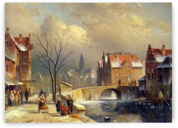 Winter villagers on a snowy street by a canal by Charles Henri Joseph Leickert