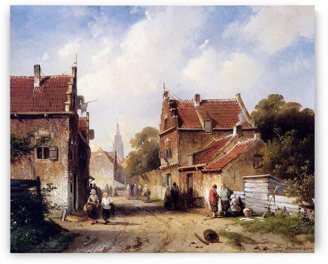 Henri Summer view on village Sun by Charles Henri Joseph Leickert