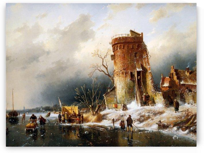 Winter Landscape Sun by Charles Henri Joseph Leickert