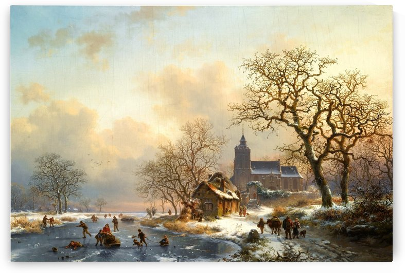 Dutch winter landscape with figures by Charles Henri Joseph Leickert