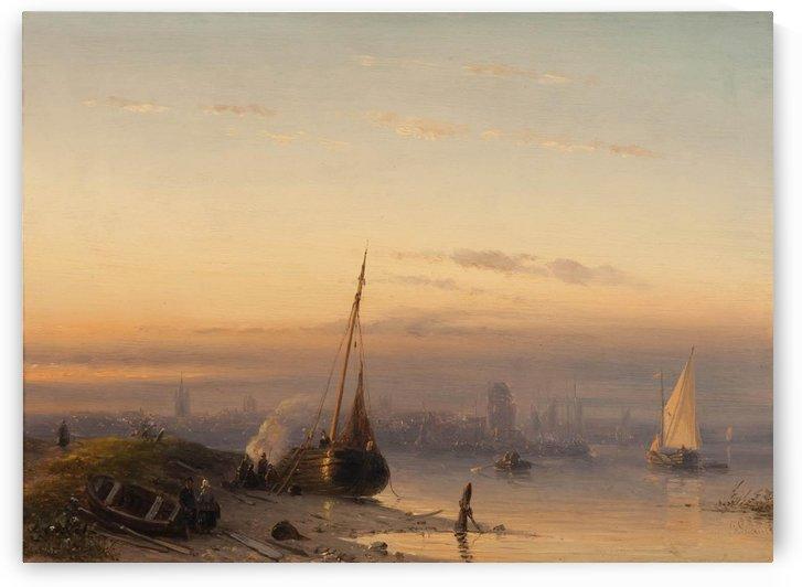 Het IJ met Amsterdam in de verte by Charles Henri Joseph Leickert