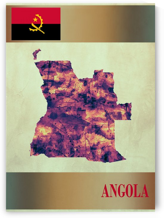 Angola Map with Flag by Towseef
