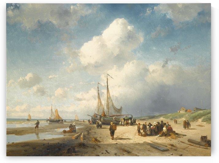 Coastal scene with fisherfolk by Charles Henri Joseph Leickert