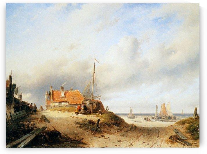Figures near port by Charles Henri Joseph Leickert