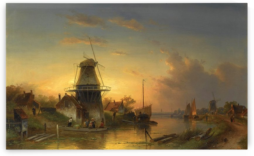 Zomers rivierlandschap met overzet pontje by Charles Henri Joseph Leickert